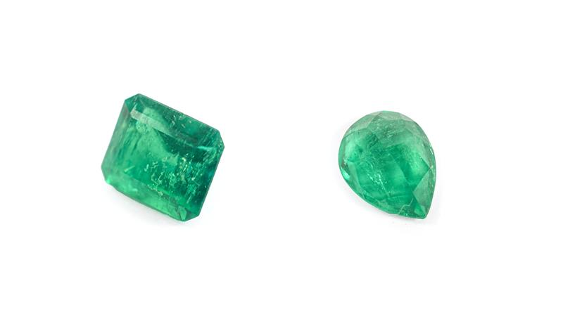 A Loose Pear Shaped Emerald, weighing 1.29 carat approximately; and A Loose Emerald-Cut Emerald,