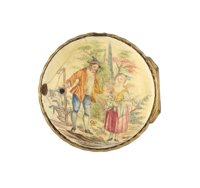 A Late 18th Century Continental Enamel Pocket Watch Outer Case, circa 1780, case back depicting a