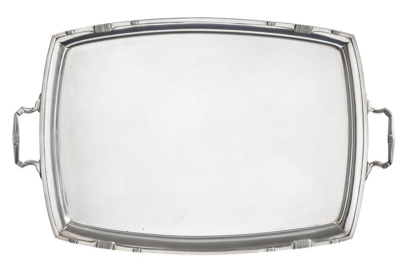 A George VI Silver Tray, by Stower and Wragg Ltd., Sheffield, 1943, shaped oblong and with part