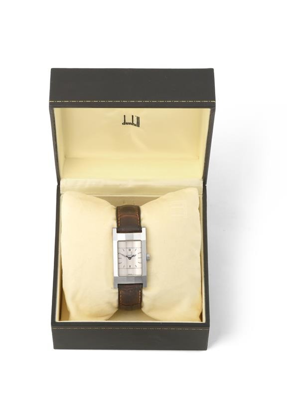 A Stainless Steel Rectangular Shaped Curved Wristwatch, signed Dunhill, circa 2010, lever
