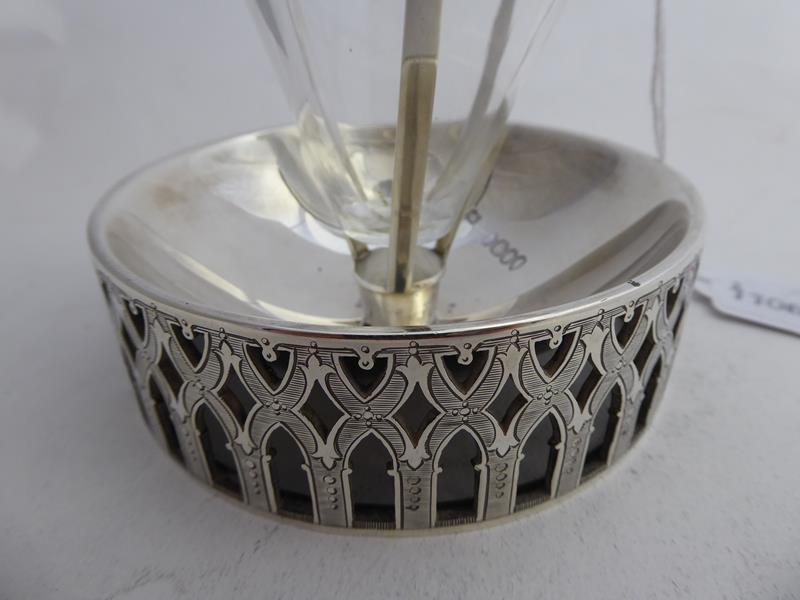 A Victorian Silver-Mounted Glass Bottle and Stand, The Silver by Abraham Brownett and John Rose, - Image 3 of 8