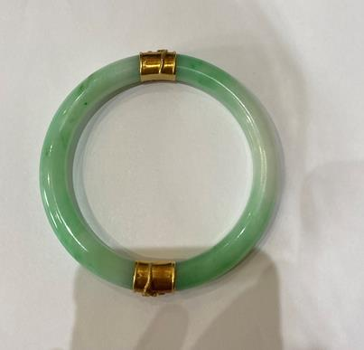 A Jade Bangle, with two bands overlaid with dragon detailing, measures 7.1cm inner diameter . The - Image 2 of 8