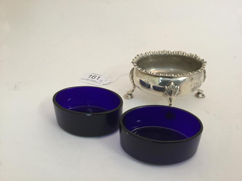 A Pair of George III Silver Salt-Cellars, by David and Robert Hennell, London, 1766, each bombé oval - Image 4 of 4