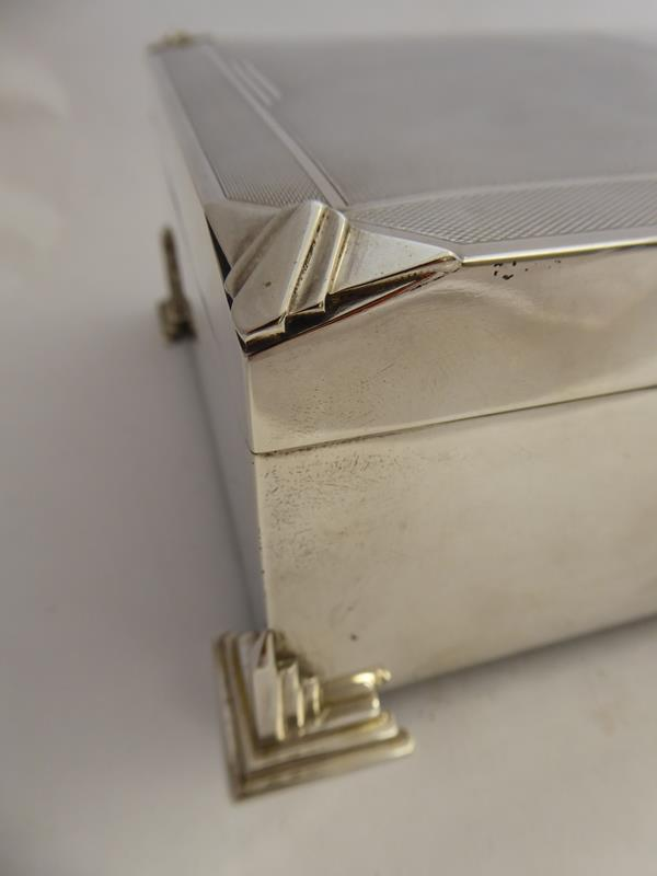 A George V Silver Cigarette-Box, by Charles S. Green and Co. Ltd., Birmingham, Probably 1934, oblong - Image 4 of 10