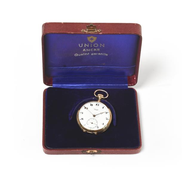 A 14K Gold Open Faced Pocket Watch, signed Union, Ancre, circa 1910, gilt frosted finished lever