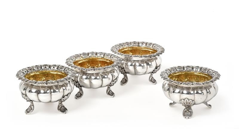 A Set of Four William IV Silver Salt-Cellars, by Edward, Edward, John and William Barnard, London,