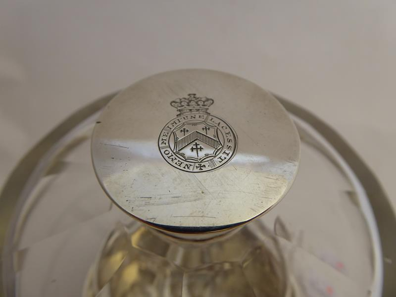 A Victorian Silver-Mounted Glass Bottle and Stand, The Silver by Abraham Brownett and John Rose, - Image 4 of 8