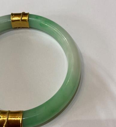 A Jade Bangle, with two bands overlaid with dragon detailing, measures 7.1cm inner diameter . The - Image 5 of 8