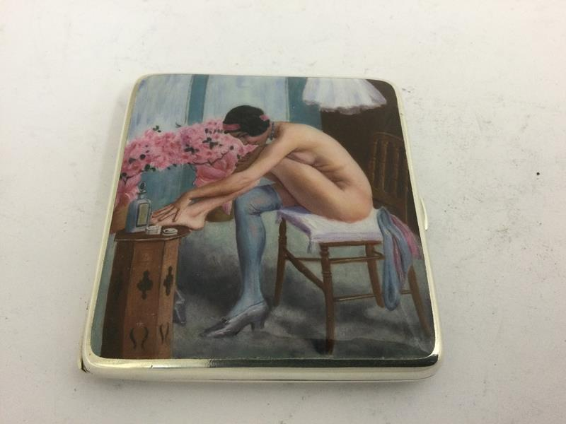 An Alpaca and Enamel Erotic Cigarette-Case, First Quarter 20th Century, oblong, the hinged cover - Image 2 of 5