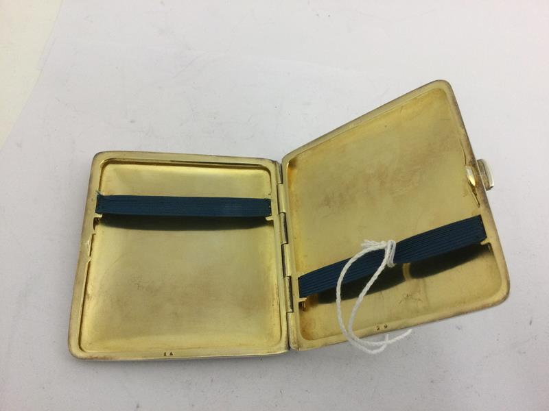 An Alpaca and Enamel Erotic Cigarette-Case, First Quarter 20th Century, oblong, the hinged cover - Image 4 of 5