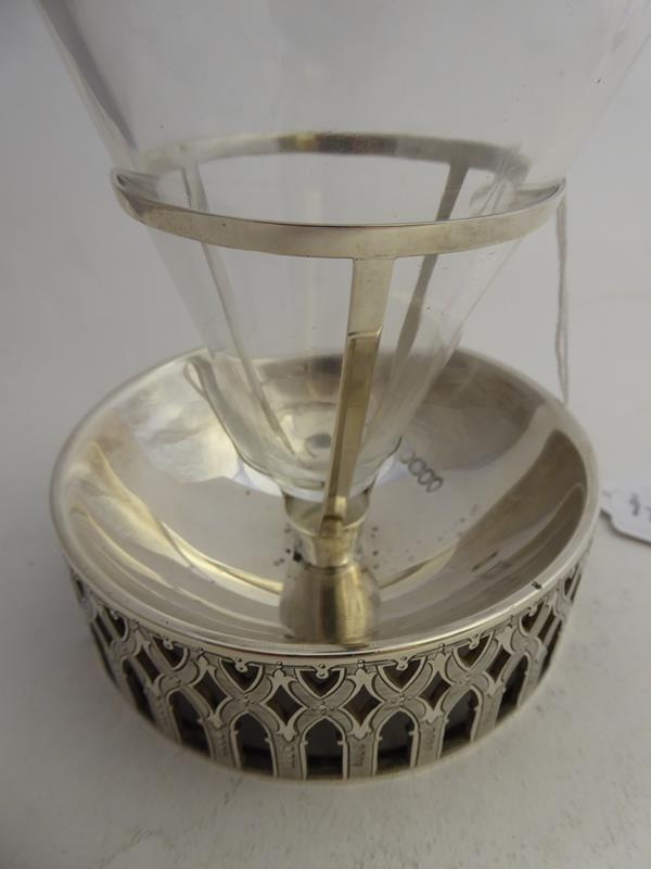 A Victorian Silver-Mounted Glass Bottle and Stand, The Silver by Abraham Brownett and John Rose, - Image 6 of 8