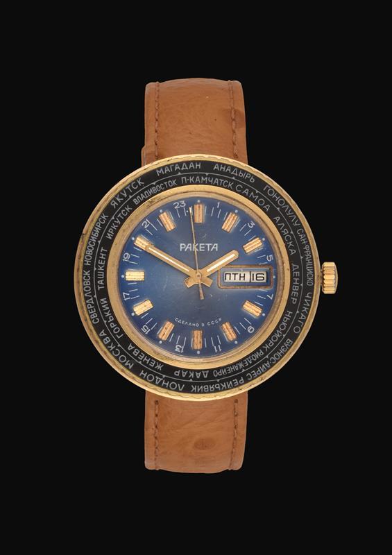 A Russian Day/Date Centre Seconds World Time Zone Wristwatch, signed Paketa, circa 1975, (calibre