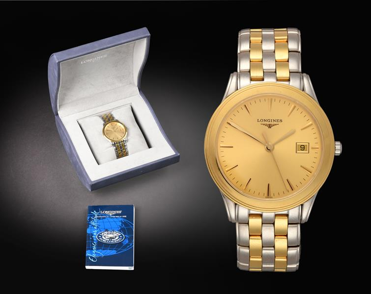 A Bi-Metal Calendar Centre Seconds Wristwatch, signed Longines, ref: L4 716.3, circa 2003, quartz