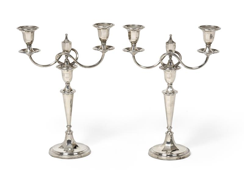 A Pair of George V Silver Two-Light Candelabra, by Mappin and Webb, Sheffield, 1918, each on