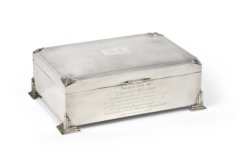 A George V Silver Cigarette-Box, by Charles S. Green and Co. Ltd., Birmingham, Probably 1934, oblong