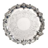 A George III and Later Silver Waiter, Probably by William Bennett, London, 1808, the Border With