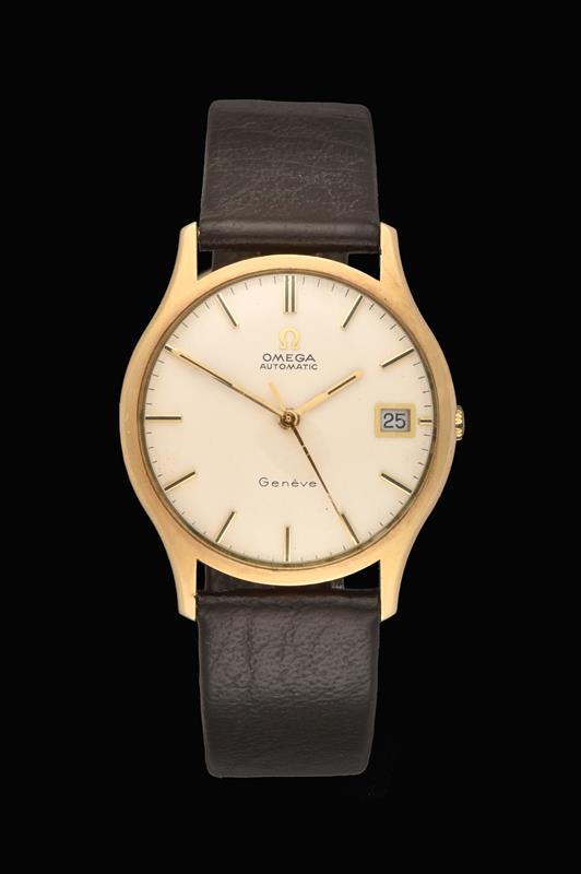 A 9 Carat Gold Automatic Calendar Centre Seconds Wristwatch, signed Omega, Geneve, 1972, (calibre