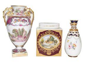 A Copelands Spode vase (af), a Royal Crown Derby vase and a Royal Couldron tea canister (3)
