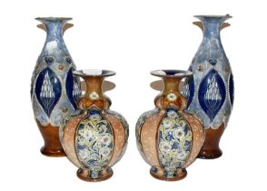 Pair of blue glaze Royal Doulton vases and a smaller squat pair (4) Larger pair - with light surface