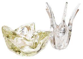 A modern Sevres green glass bowl, labelled CRISTALLERIE DE SEVRES FRANCE, 18cm diameter; together