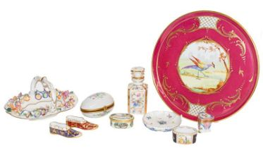 A group of continental and other porcelain with French charger, trinket boxes, Spode, Limoges etc (