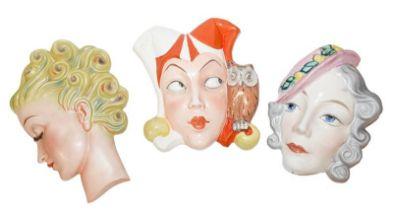 Erphila Czechoslovakia deco wall mask of girl with pink bonnet, Czech mask Googley eyes of a