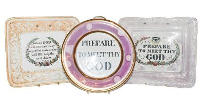 Three 19th century Sunderland lustre plaques, one circular example and two of picture frame form (3)