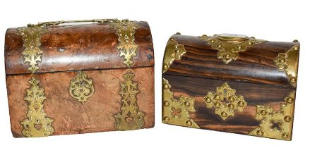 A Victorian brass bound walnut domed top stationery box, with scroll handle and applied strapwork