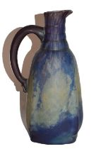 A Daum Nancy glass jug, mottled purple and yellow signed DAUM NANCY, 25cm high