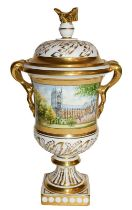 A Coalport vase and cover, number 100 of 100 for the marriage of Princess Anne & Mark Phillips, by D
