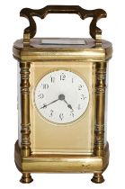Brass cased bow sided carriage timepiece, circa 1900, movement stamped R & Co.