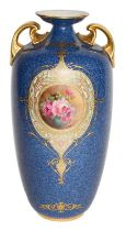 A Royal Worcester hand painted vase, signed