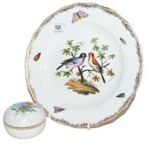 A Meissen plate (second) and a Meissen dish and cover (2)