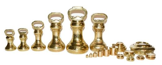 A quantity of assorted brass weights including bell formed examples by T M Smirk, Newcastle and