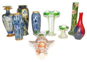 Charlotte Rhead wall pocket, a pair of Doulton Lambeth vases, two others restored, an Austrian