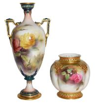 A Royal Worcester Hadley ware vase and a Royal Worcester vase, painted with roses (2) Twin-handled