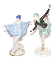 Katzhutte figure of a deco dancer in blue shawl, another stylish group of a skater (2) Hat with