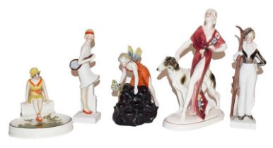 A Katzhutte figure of an Art Deco style girl and dog, two German figures of a skier and tennis