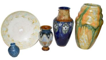Two Doulton Lambeth vases, a Royal Lancastrian large pottery bowl and squat blue vase, and a large