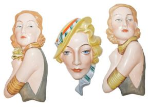 Two similar Czechoslovkian wall plaques of Marlene Dietrich, part of the Harriman Judd collection