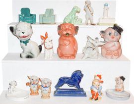 Two trays of assorted circa 1930's and later pottery miniature figures, Banzo figures, souvenir of