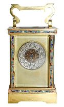 A brass and champleve enamel carriage timepiece, circa 1900