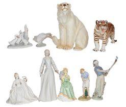 Rorstrand model of a Polar Bear, a Rorstrand model of a Tiger, a Reflections Royal Doulton figure of