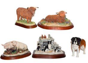 Border Fine Arts Studio models: 'Highland Bull (lying)', model No. A4068 and 'Highland Bull' model