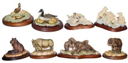 Border Fine Arts WWF models including: 'Baby Elephants', RW60, 'Hippo and Baby', RW22, 'Polar Bear