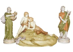 Two Royal Dux figures, together with a continental figural dish (3) These pieces are post 1919 and