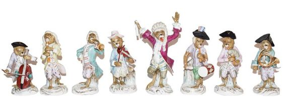 A Volkstedt eight piece monkey band after MeissenConducter - baton is broken. Trumpeteer - chipped