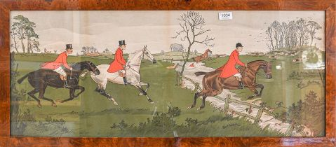 After Charles Baldock, a set of three hunting prints, 36cm by 90cm (3)