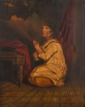 After Thomas Lawrence, child praying, oil on board, 50cm by 41.5cm