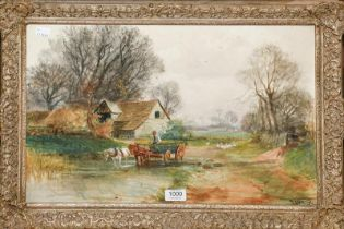 Henry Charles Fox RPA (1855-1929) Watering the horses in the farmyard, signed and dated 1903,